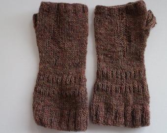 Hand knit wool fingerless gloves