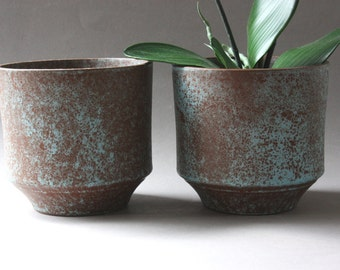 Set small planter ceramic 60s 70s, vintage flower pots, flowerpots, Germany, Mid Century modern, gift friend girlfriend wife office husband