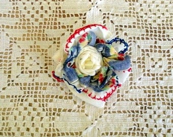 Fabric Flower Brooch  From  Red and Blue Vintage Handkerchiefs