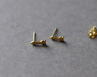 Gold Arrow Stud Earrings - Gold plated over Sterling Silver