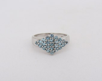 Vintage Sterling Silver Aquamarine Cluster Ring Size 8.5