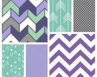 Baby Girl Crib Bedding - Blanket, Sheet, Crib Skirt in Purple, Lavender, Mint and Grey