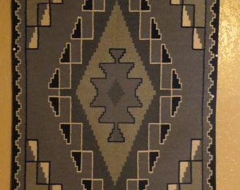 Two Grey Hills Genuine Navajo Woven Rug Weaver Dorothy Jim MC-18 circa 1970's