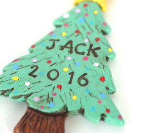 Personalized Christmas Tree ornament for BOY or GIRL Christmas Ornament Christmas folk art ornament