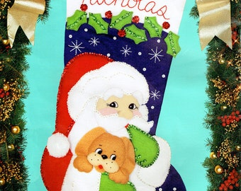"Bucilla Santa's Puppy ~ 18"" Felt Christmas Stocking Kit #82901 Dog, Pet, Gift DIY"