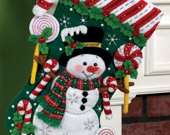 "Bucilla ~ Candy Snowman ~ 18"" Christmas Stocking Kit #86299 DIY"