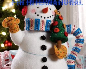 Bucilla Teapot Snowman ~ 3D Felt Christmas Home Decor Kit #86163 Frosty 2008 DIY