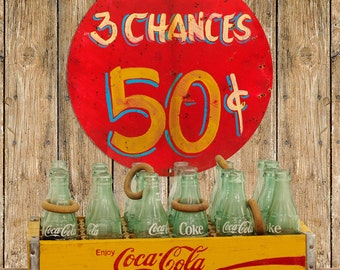 3 Chances 50 Cents Carnival Game Sign - #64784