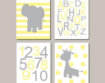 Yellow Gray Nursery WALL ART Jungle Nursery Decor Baby Boy Nursery Decor Elephant Wall Art Giraffe Safari Animals Set of 4 Prints Or Canvas