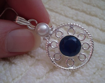 """Deep Blue Sapphire Crystal - Freshwater Pearl (Natural) 925 Sterling Silver 18"""" Necklace"""