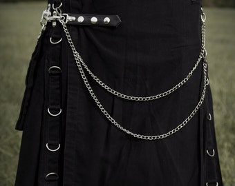 Gothic V-Kilt, Modern Style Cargo Utility Kilt with Metal D-Rings and Chain,16oz Cotton Heavy Duty Build