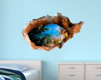 3D decal hole to space wall sticker, vinyl wall sticker for nursery, wall decal kids, vinyl decal, 3d wall decals