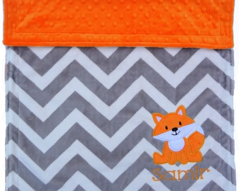 Personalized Baby Blanket, Fox Chevron Baby Blanket, Custom Minky Baby Blanket, Fox Nursey, Woodland Baby Blanket