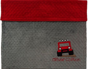 Personalized Baby Jeep Blanket,Minky Grey & Red Minky Jeep Blanket, Custom Jeep Blanket, Choose your own colors