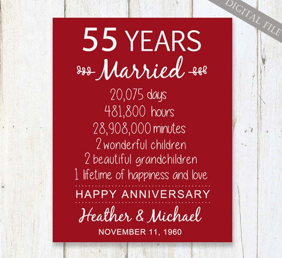 Wedding Anniversary Gifts 55 Years : 55th Anniversary Gift55 years Wedding AnniversaryPersonalized ...