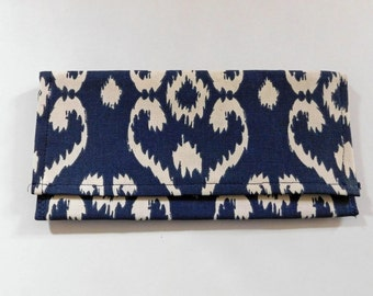 Ikat black and white  Pouch, Checkbook holder,
