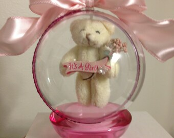 Pregnancy Announcement, Gender Reveal Ornament with Floating Teddy Bear-It's A Girl #1