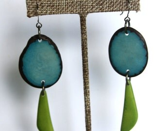Natural Tagua Earrings in Turqoise and Green. Light Weight Earrings made with Fair Trade Tagua Nut Beads