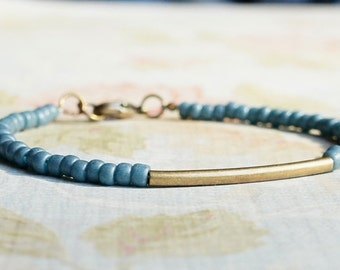 Bronze And Turquoise Seed Bead Bracelet, Stacking Bracelet, Simple Bracelet, Beaded Bracelet, Minimalist Bracelet, Dainty Bracelet