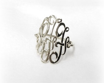 Monogram Ring Silver-Ring With Initials-Monogram Wire Ring-Script Initial Ring-Ring Monogram-Ring With letter-Monogrammed-Three Initial Ring