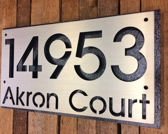 Custom stainless steel numbers with street address plaque.