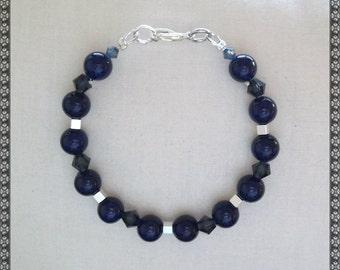 blue bracelet, dark blue bracelet, crystal bracelet, riverstone bracelet