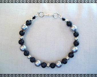 black & grey bracelet, black bracelet, grey bracelet, silver, black and silver, black bracelet