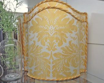 Gorgeous Vintage Fortuny Camelback Lamp Shades, Lucrezia Pattern, Two Available