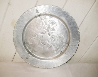 Hammered metal tray, aluminum round silver tray, roses tray, Wrought Faberware, made in USA, shabby cottage chic, mid century