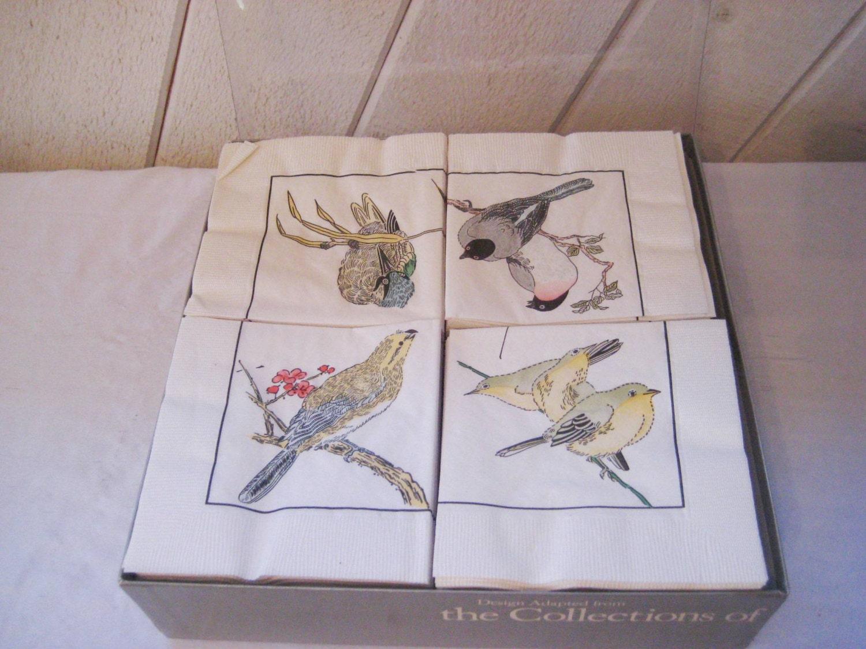 Bird Paper Napkins Gold Finch Napkins Robin Napkins Blue