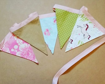 Pennant Banner, Baby Banner, Whimsical Banner, Nursery Banner, Fabric Bunting, Fabric Banner, Horse Bunting