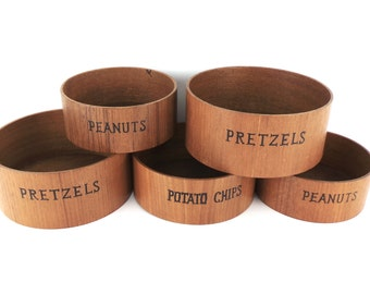 Teak Nesting Snack Bowl Set, Vintage Set of 5 Teak Bowls Marked Pretzels Peanuts Potato Chips, 1960s Serving Set