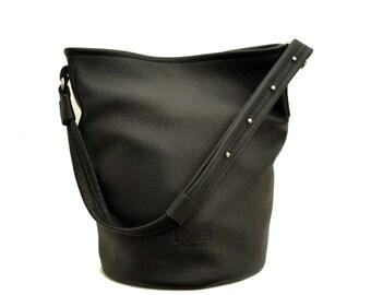 Black Leather bag, black Bucket Bag, CHLOÉ BAG black
