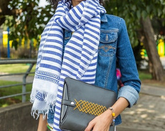 Handwoven blue and white stripe Ethiopian scarf.