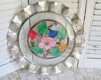 Vintage 50s Pierced Chrome Ruffled Pierced Edge with Glass and Floral Linen Tray Serving Tray Vanity Tray Tea Party Server