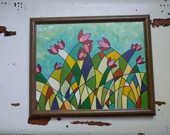 Spring Flowers 8x10 Framed Original Acrylic Painting on Canvas