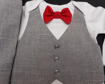 Baby Boy Suit Wedding Light Gray Vest - Pants -Red Satin OR Any Color Bow Tie  -Any Size for Any Special Occasion short or long sleeve