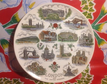 Vintage hand painted London, Great Britain souvenir plate- Adams, England