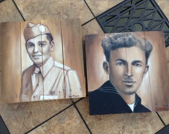 Custom Painting from Vintage Photo, 14x14 Portrait Painting on Wood Artist Commission