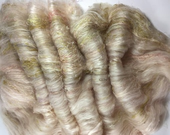 """Very special Hand carded batt - """"It's ALL about the Silk"""" spinning felting"""
