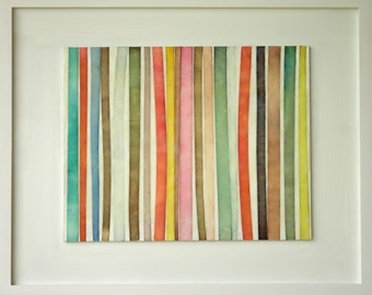 "Original Art by Gina Cochran - Encaustic Collage - ""Ribbons, No. 8"""