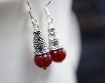 July Birthstone  - Sterling Silver Ruby Earrings - Tiny Ruby Dangle Earrings  - Ruby Jewelry