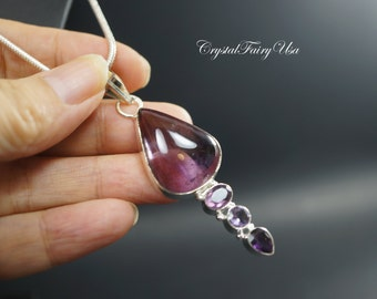 Amethyst Necklace -  Sterling Silver Chain Ametrine Necklace - Gift For Mom   Crystal Healing Necklace  February Birthstone