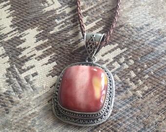 SALE: Vintage Imperial Jasper Pendant Necklace - Jasper Pendant Necklace - Vintage Jasper Pendant - Red Jasper Pendant Necklace -