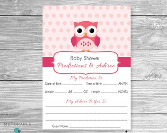 baby shower predictions cards owl themed baby shower predictions and advice cards advice cards
