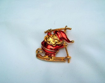 Jolly Vintage Red Enamel Gold Skiing Santa Claus Holiday Brooch