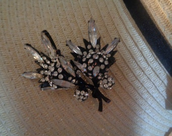 Japanned Marquise Navettes Rhinestone Floral Brooch Very Blingy Wedding jewelrybybadabling