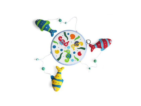 Fish baby mobile felt mobile unique baby gift for Unusual baby mobiles