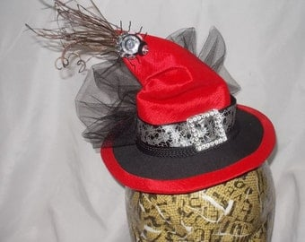 Mini Witch Hat Red Black Spider Halloween Costume
