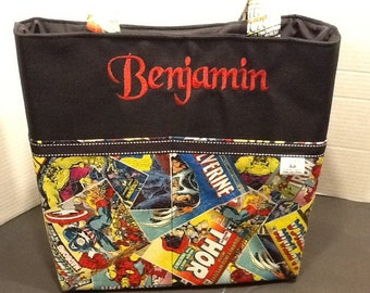 Personalized tote bag with lots of pockets made of marvel comic book page fabric
